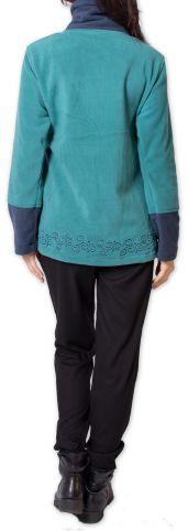 Veste polaire Bicolore et Ethnique pour Femme Kasamance Bleue 275647