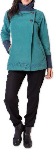 Veste polaire Bicolore et Ethnique pour Femme Kasamance Bleue 275648