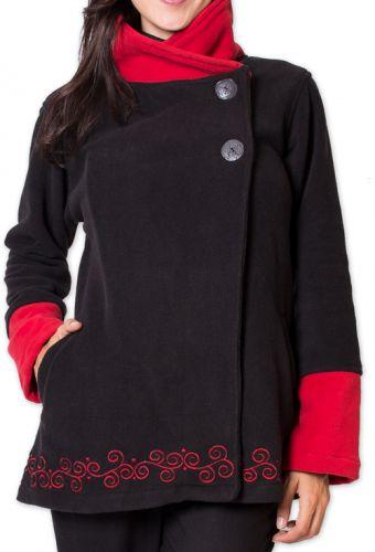 Veste polaire Bicolore et Ethnique pour Femme Kasamance Noire 275642