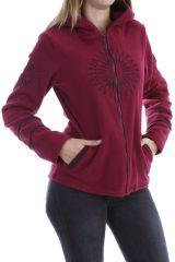 Veste polaire chaude avec capuche et imprimé mandala framboise Marianne 303996