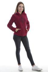 Veste polaire chaude avec capuche et imprimé mandala framboise Marianne 303997