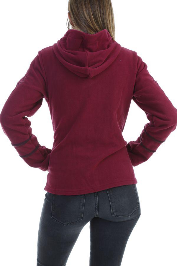 Veste polaire chaude avec capuche et imprimé mandala framboise Marianne 303998