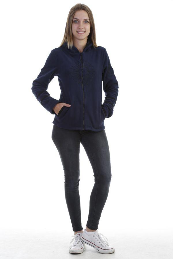 Veste polaire chaude et tendance marine imprimée noire Marianne 304009