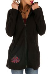 Veste polaire ethnique pour femme noire et imprimée Tibiri 313263