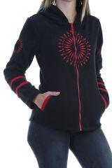 Veste polaire femme indémodable noir imprimé mandala rouge Marianne 304014