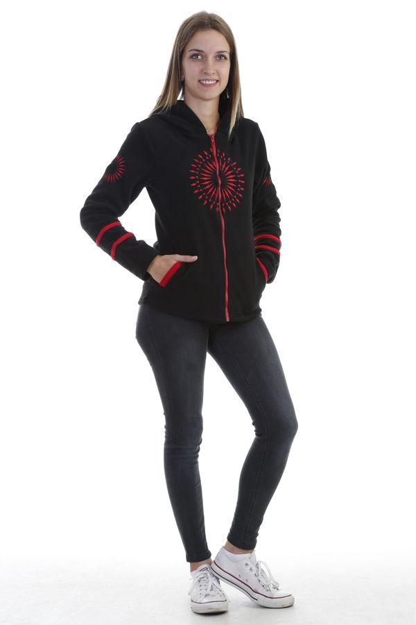 Veste polaire femme indémodable noir imprimé mandala rouge Marianne 304015