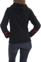 Veste polaire femme indémodable noir imprimé mandala rouge Marianne 304016