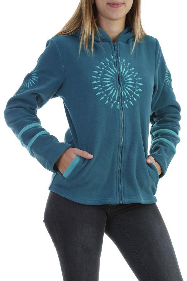 Veste polaire original à capuche et fermeture zippée émeraude Marianne 304002
