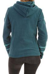 Veste polaire original à capuche et fermeture zippée émeraude Marianne 304004