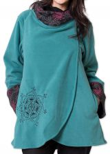 Veste polaire pour Femme Ethnique et Imprimée Huddson Bleue 275601