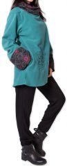 Veste polaire pour Femme Ethnique et Imprimée Huddson Bleue 275603
