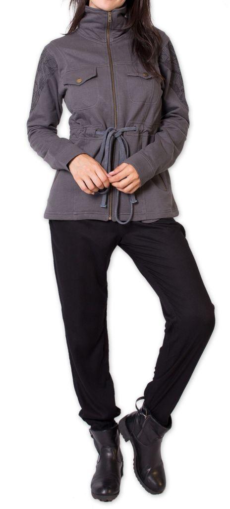 veste pour femme cintree chic et ethnique cavaly grise. Black Bedroom Furniture Sets. Home Design Ideas