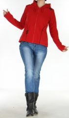 Veste pour Femme en Polaire Style Tribal et Coloré Butwal Rouge 277608