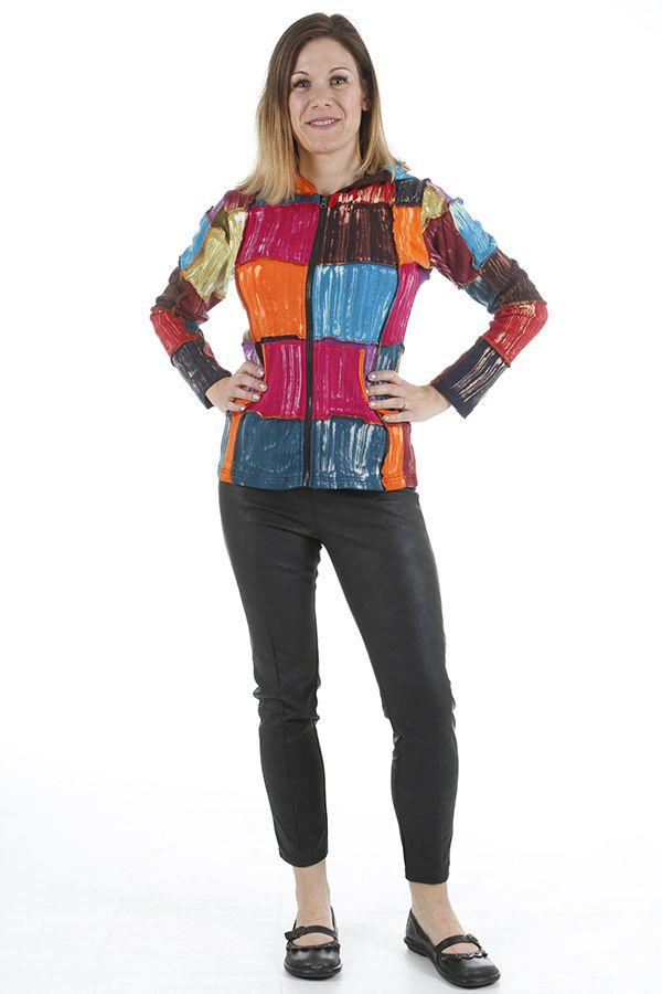 Veste pour femme ethnique style patchwork colorée Savanah 310532