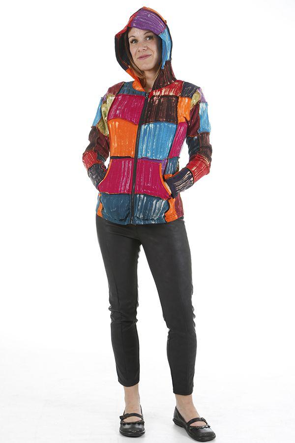 Veste pour femme ethnique style patchwork colorée Savanah 310533