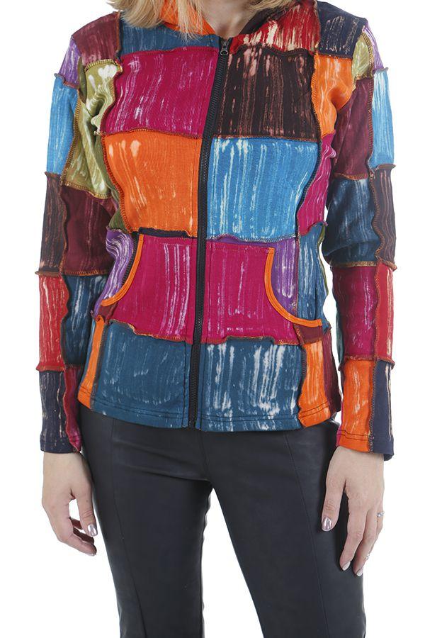 Veste pour femme ethnique style patchwork colorée Savanah 310534