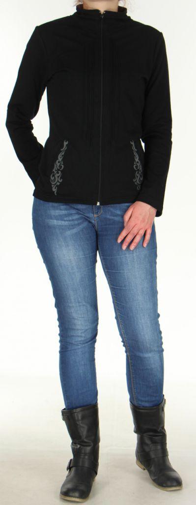 Veste pour Femme légère et Originale à motifs Tribal Casia Noire 278397
