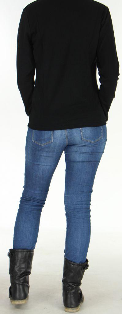 Veste pour Femme légère et Originale à motifs Tribal Casia Noire 278398