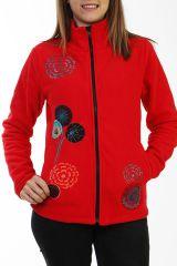 Veste rouge ethnique en polaire avec des broderies 288092