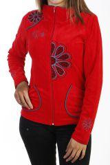 Veste rouge pour femme en velours avec broderies 288114