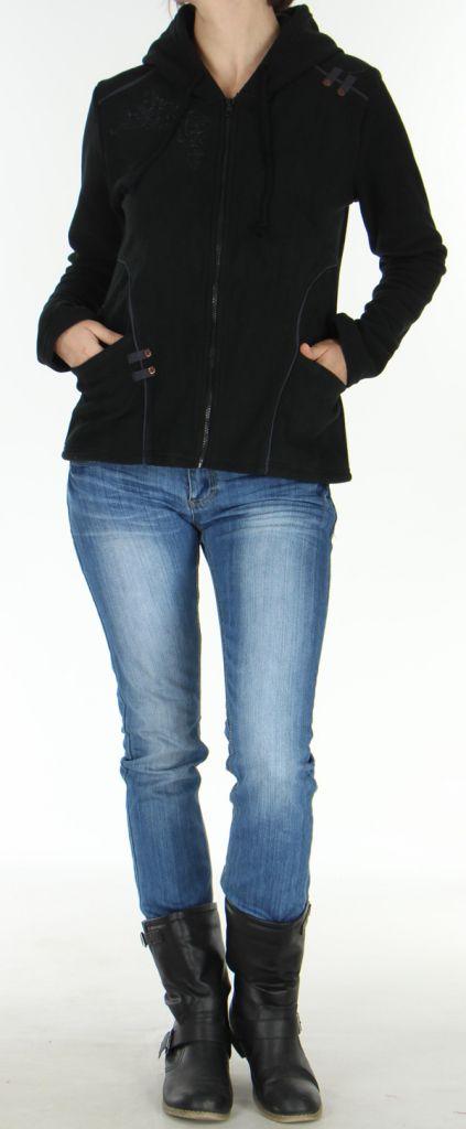 Veste Style Tribal en Polaire pour Femme Colorée Butwal Noire 277611