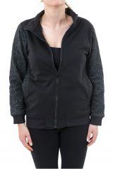 Veste zippée mi-saison noire doublée en polaire Youni 305567