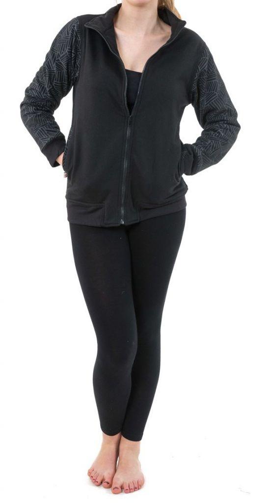 Veste zippée mi-saison noire doublée en polaire Youni 305568