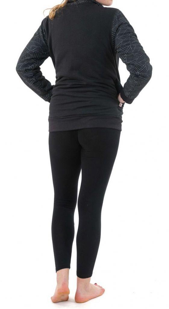 Veste zippée mi-saison noire doublée en polaire Youni 305569