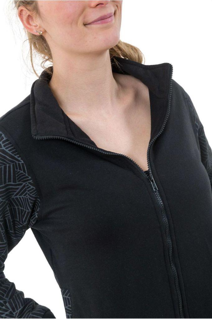 Veste zippée mi-saison noire doublée en polaire Youni