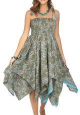 Vêtement ethnique 2en1 robe et jupe d\'été pour femme Gandy